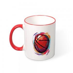 """""""Basketball"""" Color mug  Mouth and Handle 11oz"""