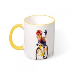"""""""Bicycle"""" Color mug  Mouth and Handle 11oz"""