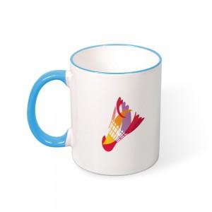 """""""Badminton"""" Color mug  Mouth and Handle 11oz"""