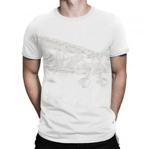 """Aircraft"" Single-Sided Full Printing Man White T-shirt"