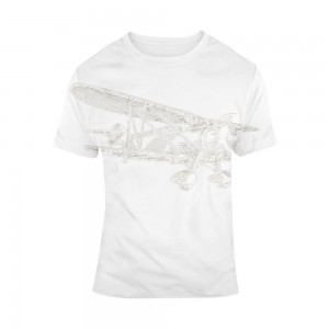 """Aircraft"" Single-Sided Full Printing Man White T-shirt"