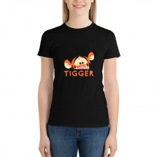 """""""Animal""""""""Tiger"""" Single-sided Area Printing Black T-shirt for Women"""