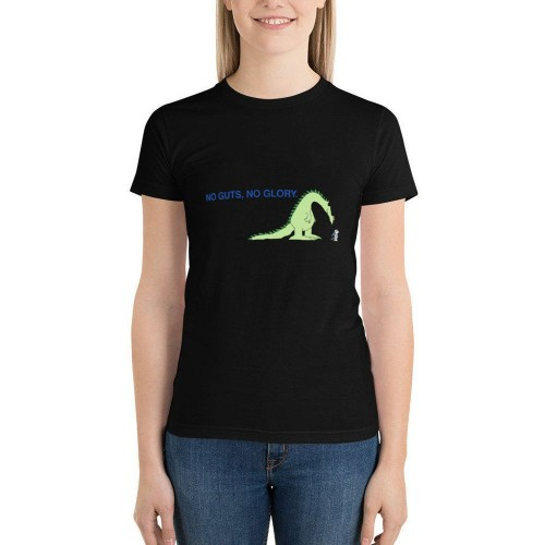 """No Guts, No Glory"" Single-sided Area Printing Black T-shirt for Women"