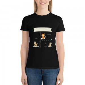 """""""Animals"""" Double-sided Area Printing Black T-shirt for Women"""