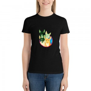 """""""Animals"""" Single-sided Area Printing Black T-shirt for Women"""