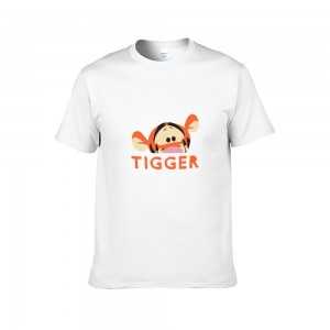 """Animal""""Tiger"" Single-sided Area Printing White T-shirt for Women"