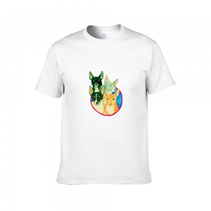 """Animals"" Single-sided Area Printing White T-shirt for Women"