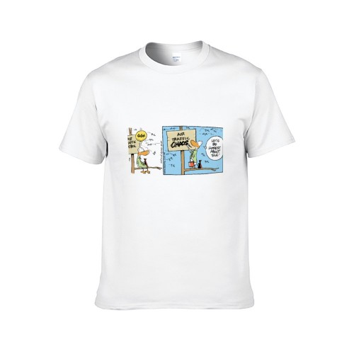 """Cartoon"" Single-sided Area Printing White T-shirt for Women"