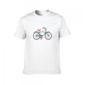 """Bike"" Single-sided Area Printing White T-shirt for Women"