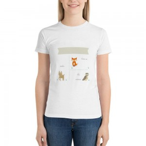 """""""Animals"""" Double-sided Area Printing White T-shirt for Women"""