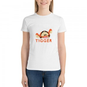 """""""Animal""""""""Tiger"""" Single-sided Area Printing White T-shirt for Women"""