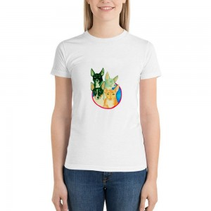 """""""Animals"""" Single-sided Area Printing White T-shirt for Women"""