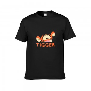 """Animal""""Tiger"" Single-sided Area Printing Black T-shirt for Women"