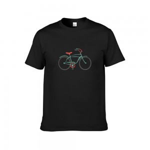 """Bike"" Single-sided Area Printing Black T-shirt for Women"