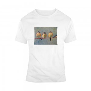 """Birds"" Single-Sided Chest Area Printing Man White T-shirt"