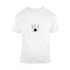 """Bowling"" Single-Sided Chest Area Printing Man White T-shirt"